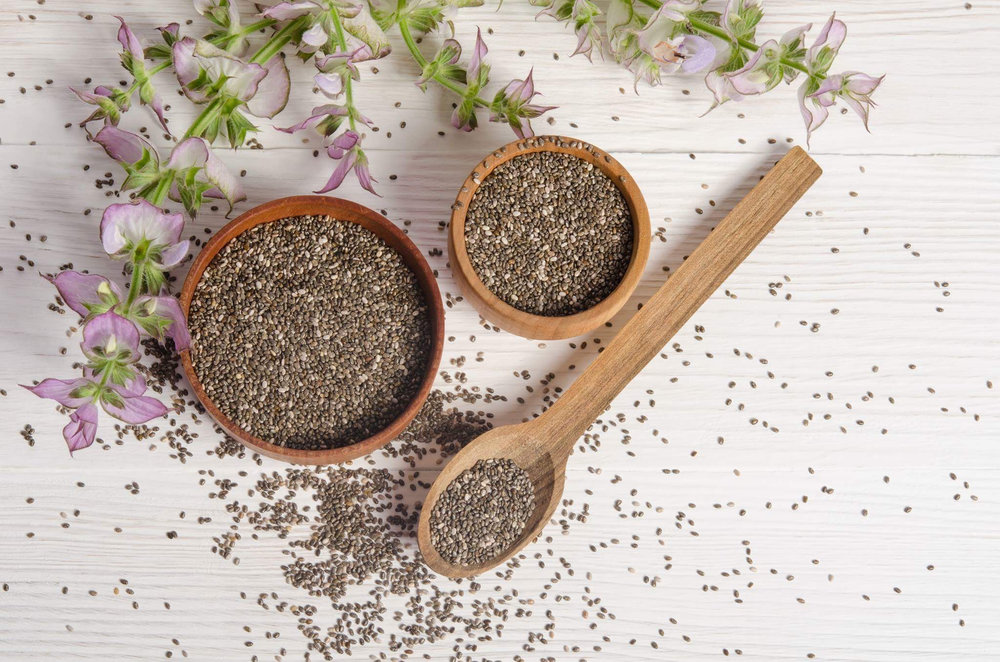Chia  means strength, and folklore has it that these cultures used the tiny black and white seeds as an energy booster.  Chia seeds  contain healthy:   ▫️ omega 3 fatty acids   ▪️ calcium   ▫️ protein   ▪️ dietary fiber   ▫️ iron    ▪️ magnesium   ▫️ carbohydrates   ▪️ vitamins A, B, D & E   ▫️ potassium    Despite the tiny size of  chia seeds , they are among the most nutritious foods on the planet!