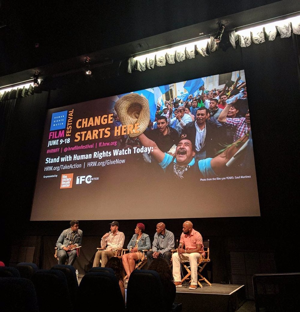 Marshall Project journalist Donovan Ramsey moderates a post screening Q&A with Filmmaker Erik Ljung, and film subjects Maria Hamilton, Nate Hamilton, and Dameion Perkins at Human Rights Watch Film Festival in New York City.