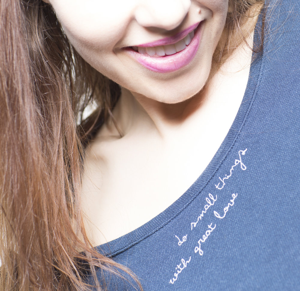 Self portrait wearing one of my mottos.  I work with love on all of my shoots.
