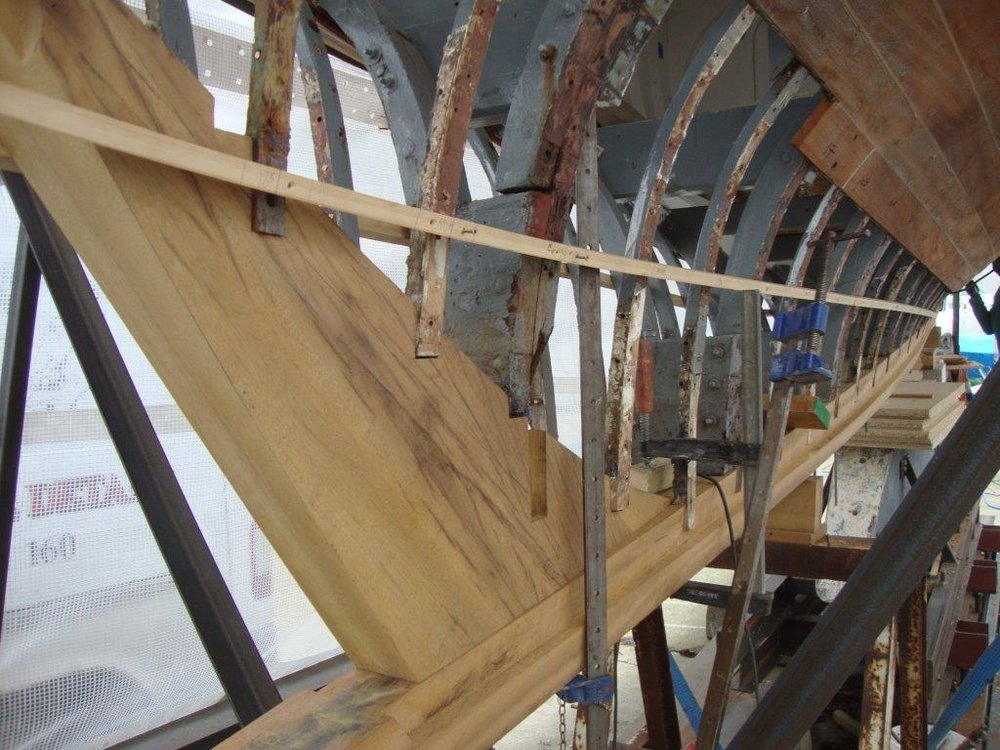 Helen under restoration by Fairlie Yachts