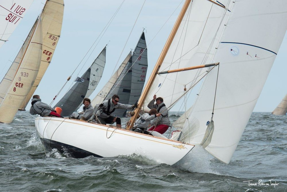 The Fife 8 metre Falcon fights her way into the lead