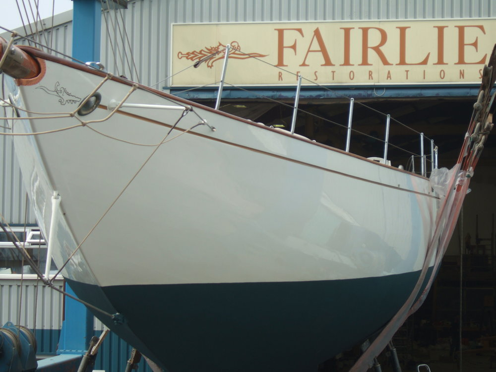 The Fife designed Haloween leaves the Fairlie Yachts shed