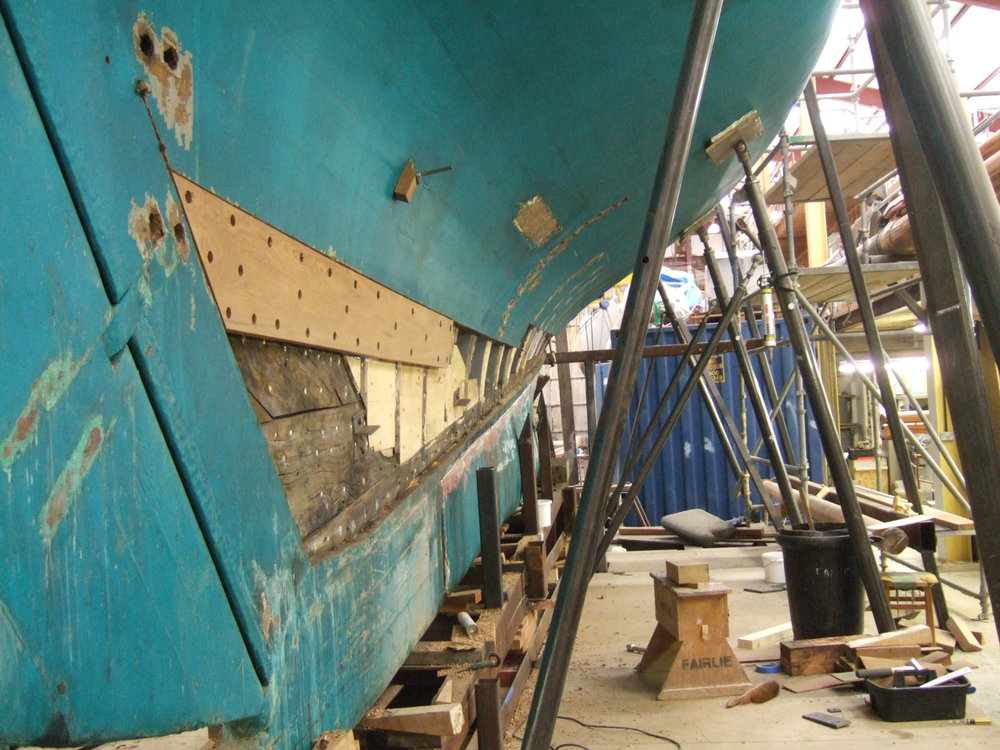 Fairlie Yachts soving a structural issue on Halloween, designed and built by W.Fife
