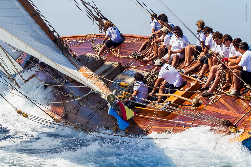 Hispania, designed by William Fife, hull restored by Fairlie yachts, takes part in Panerai Regatta