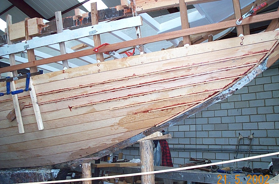 The Fife designed Jap undergoing restoration at Fairlie Yachts