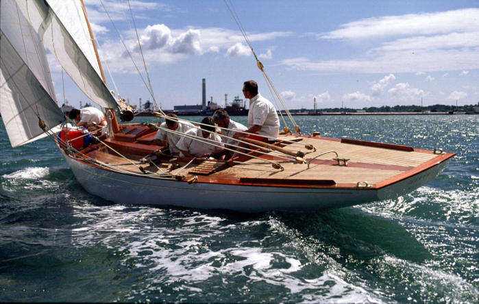 Morgan Giles 8M Siris after restoration at Fairlie Yachts