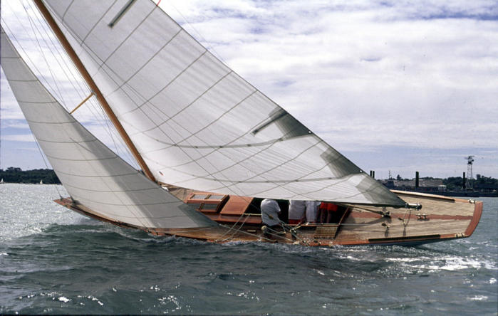 Siris under sail trials after her restoration with Fairlie Yachts