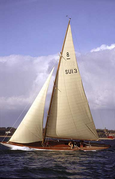 The 8M Carron II following her restoration at Fairlie Yachts
