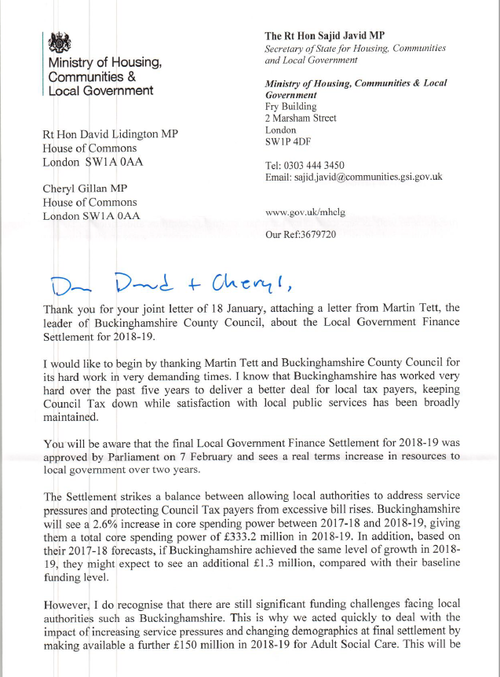 Letter from the ministry of housing communities local government sajid javid letter 1g expocarfo Choice Image