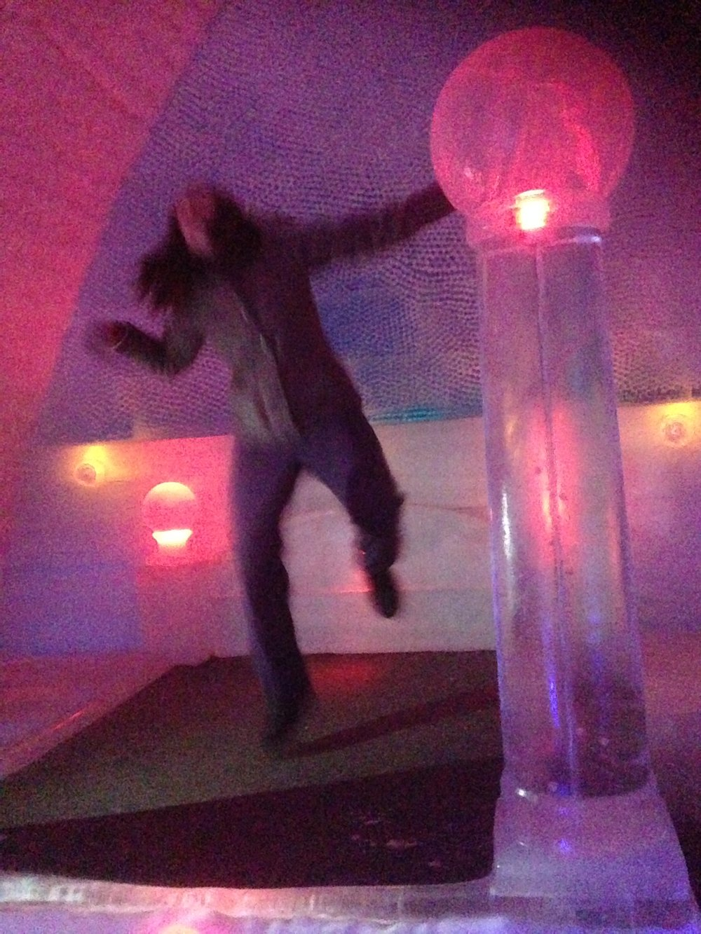 jumping on the ice bed