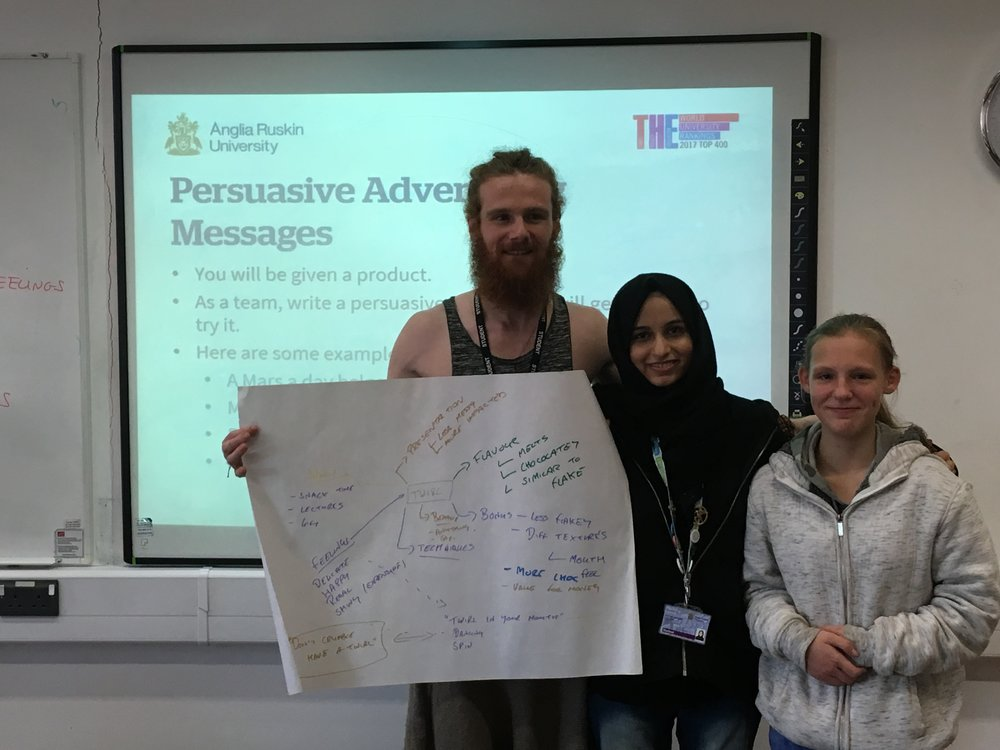 Richard Hill and Fatima Lakhani, student ambassadors, Anglia Ruskin University, pictured with Kerry, part of the Carers Trust young carers group
