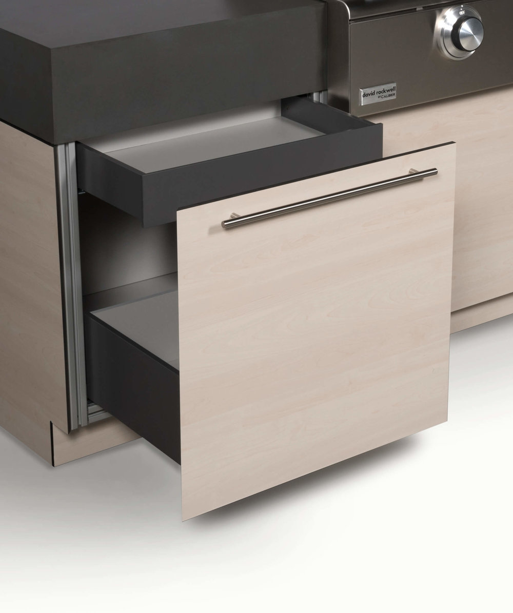 Specialty drawer for outdoor kitchen cabinetry for utensils