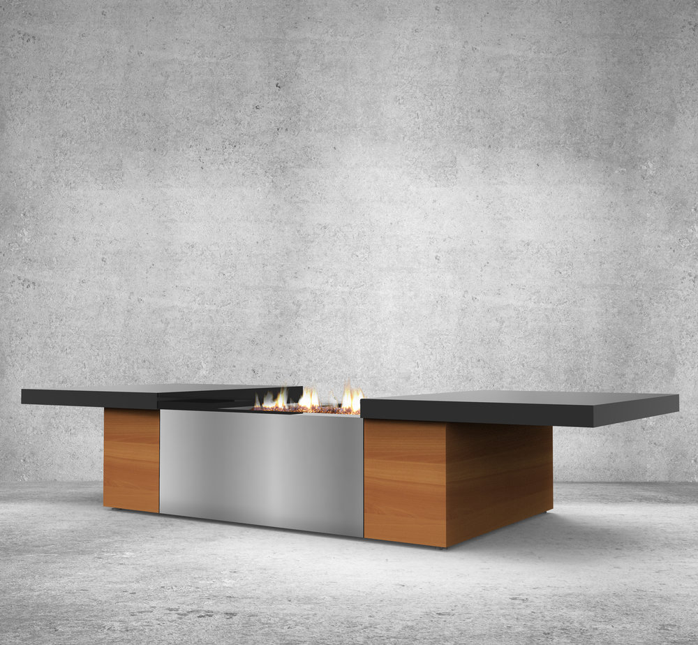 An elegant coffee table style fire feature