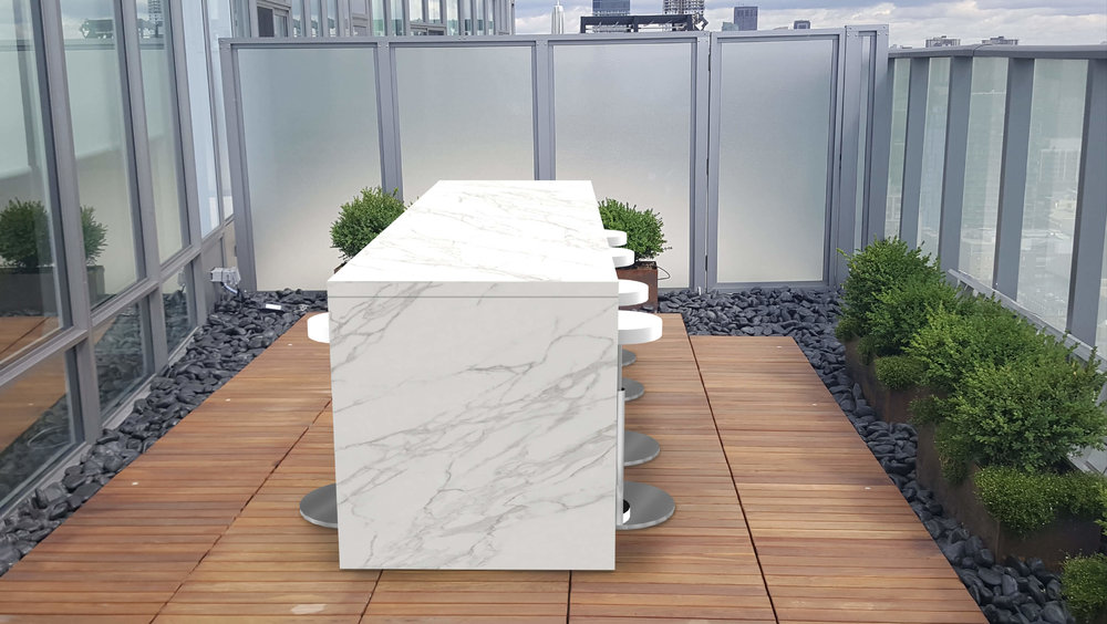 Custom Outdoor Table | Finishes: Calacatta