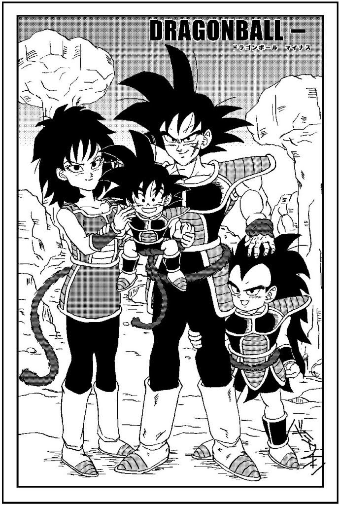 Pictured from L to R ( Gine, Goku, Bardock & Raditz)