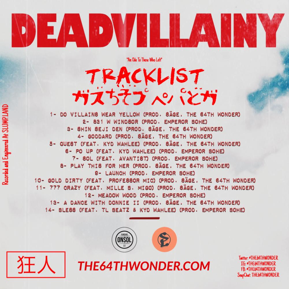 """""""Deadvillainy"""" Official Tracklist"""