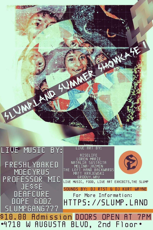 Official flier for the Slump.Land Showcase!