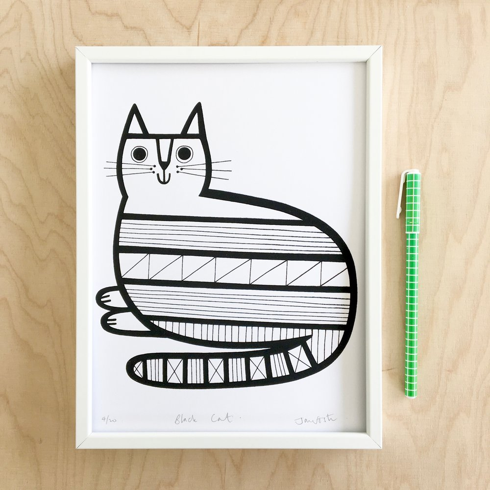 My geometric cat illustration / screen print