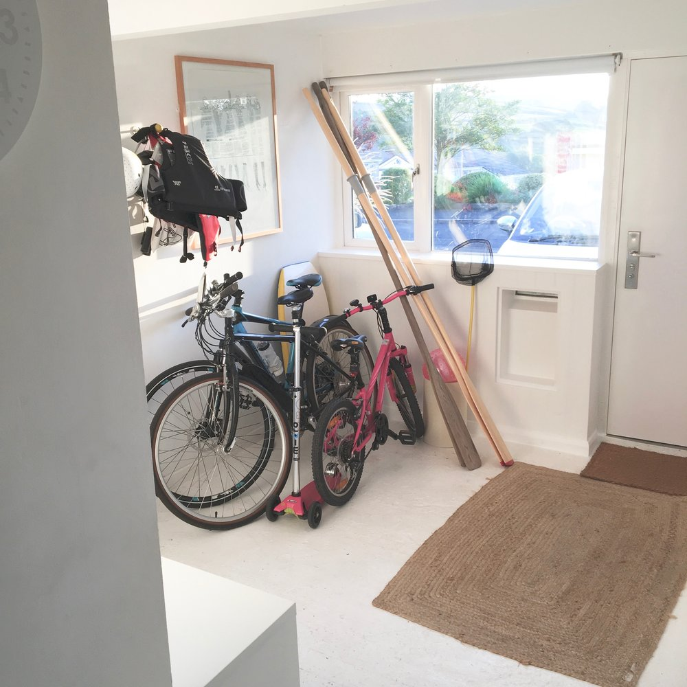 Our front entrance was becoming a dumping ground for bikes and beat gear.
