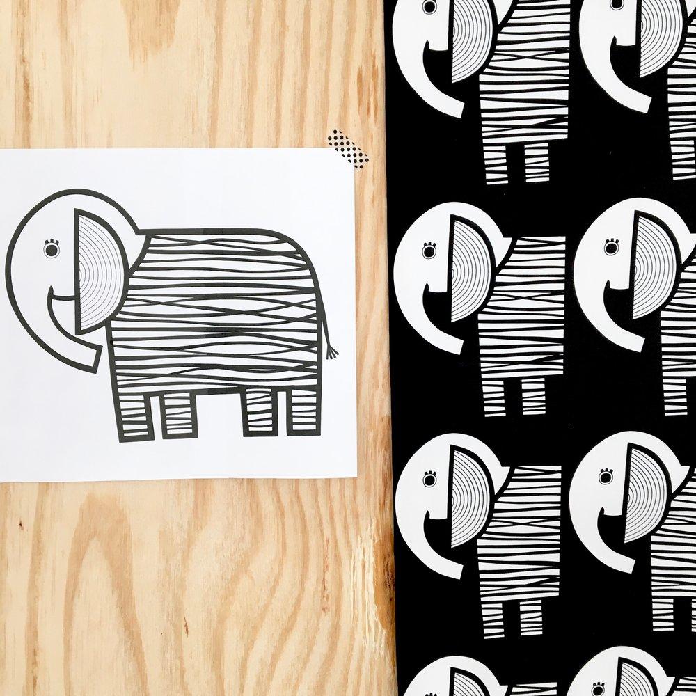 My elephant illustration alongside my new elephant fabric.
