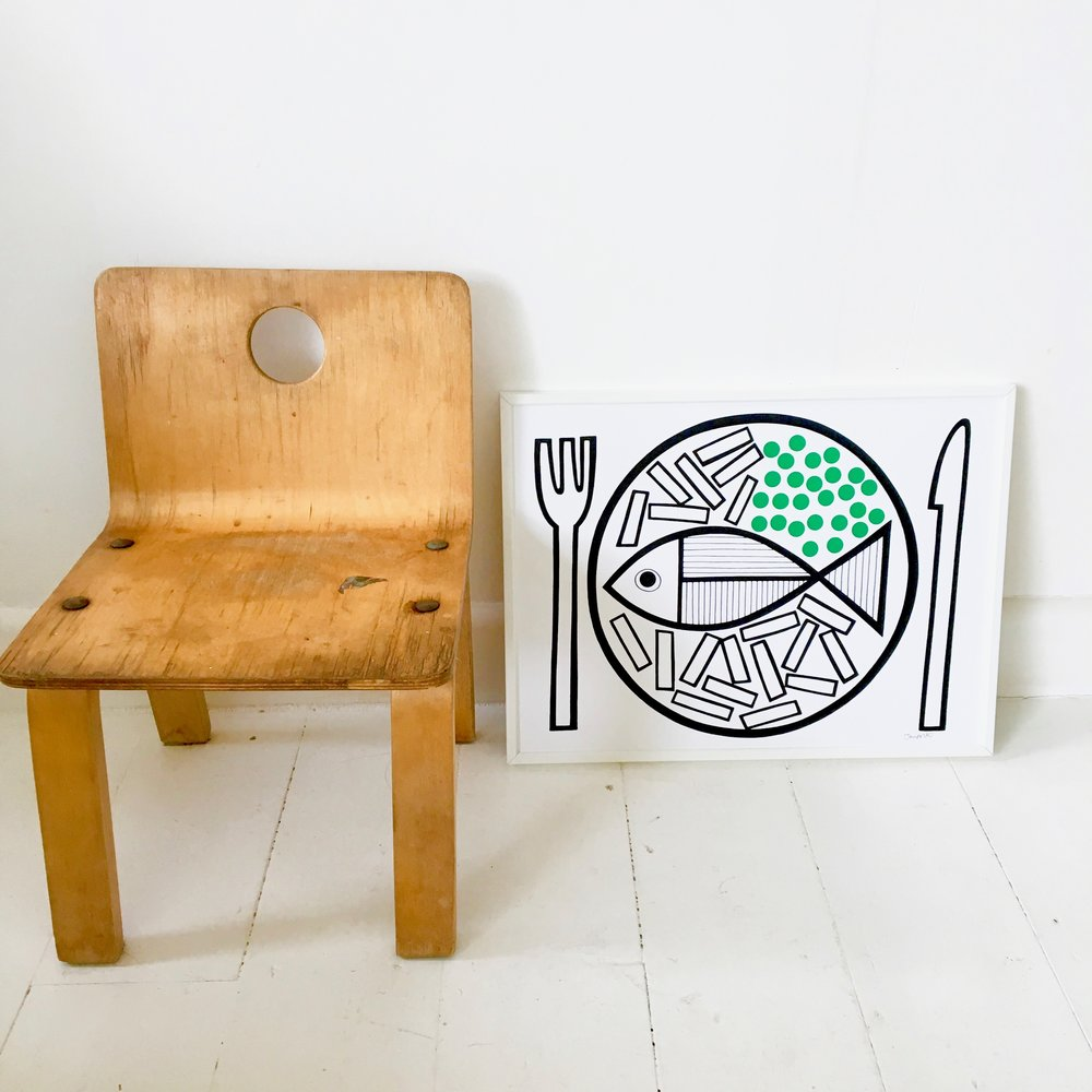 My Fish, chips and peas screen print