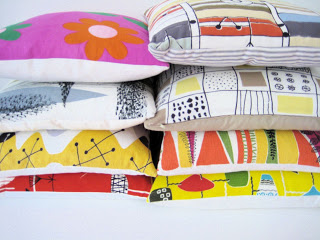 My handmade Mid Century Modern fabric cushions - Marian Mahler, Terence Conran, Jaqueline Groag and a few others.