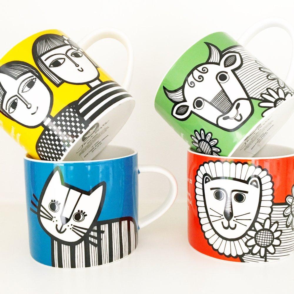 Some of my zodiac mugs for Make International