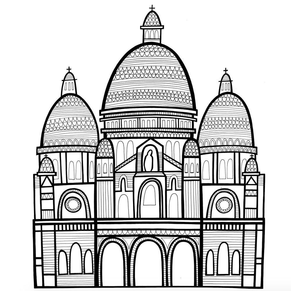 Sacre Coeur illustration for my Paris book
