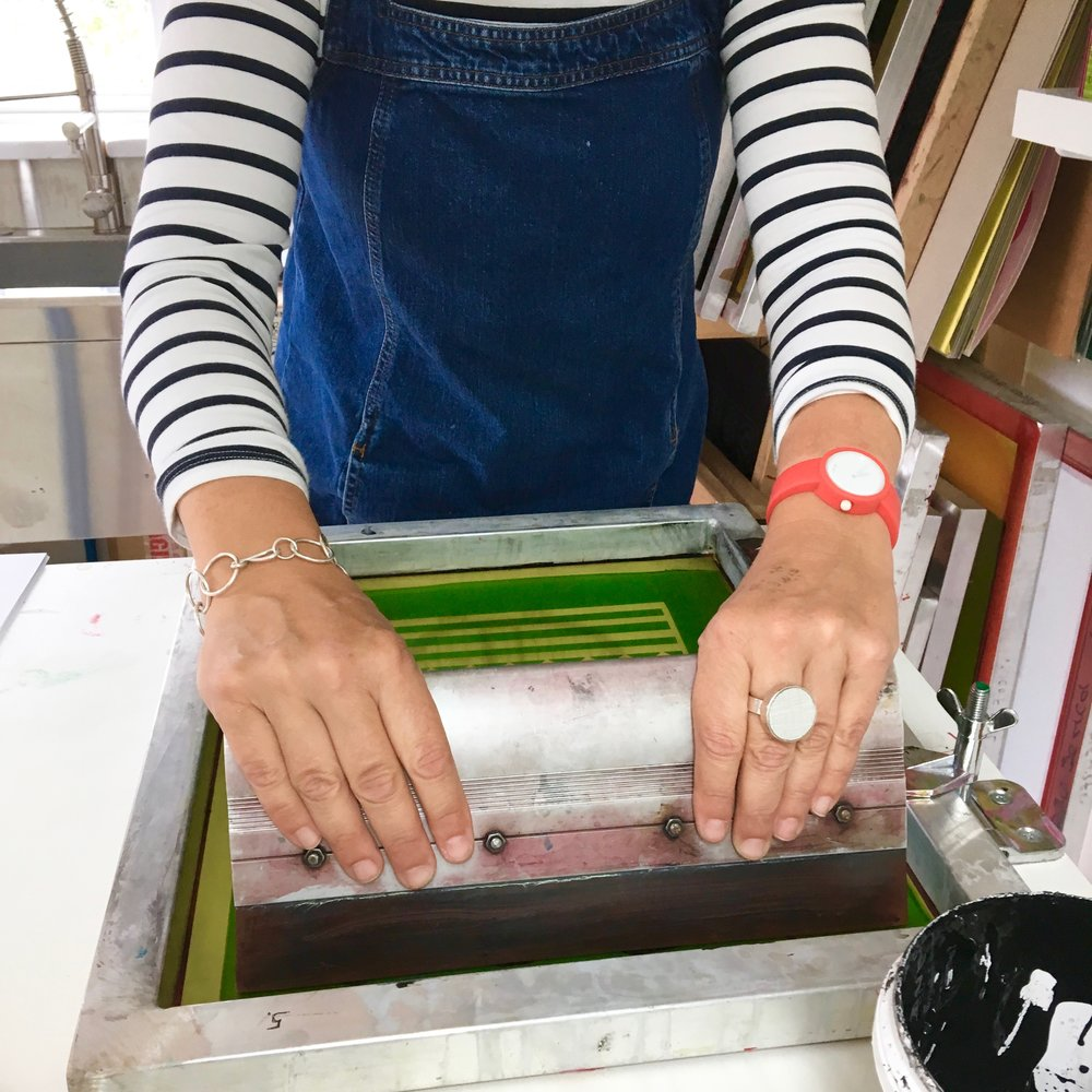 Screen printing in action