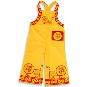 My Lion design on children's dungarees for Clothkits