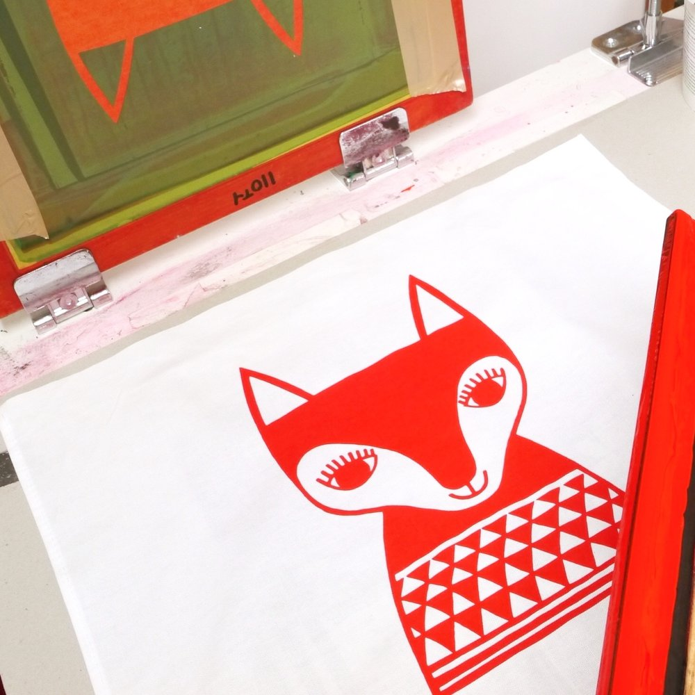 My red fox screen print  - a bit of fun I had at home one day.