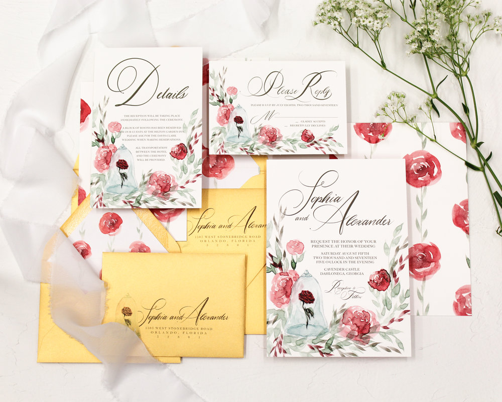 beauty and the beast - A tale as old as time. Featuring unique watercolor florals and showcasing the rose, this suite offers traditional calligraphy with the elegance of being a princess.