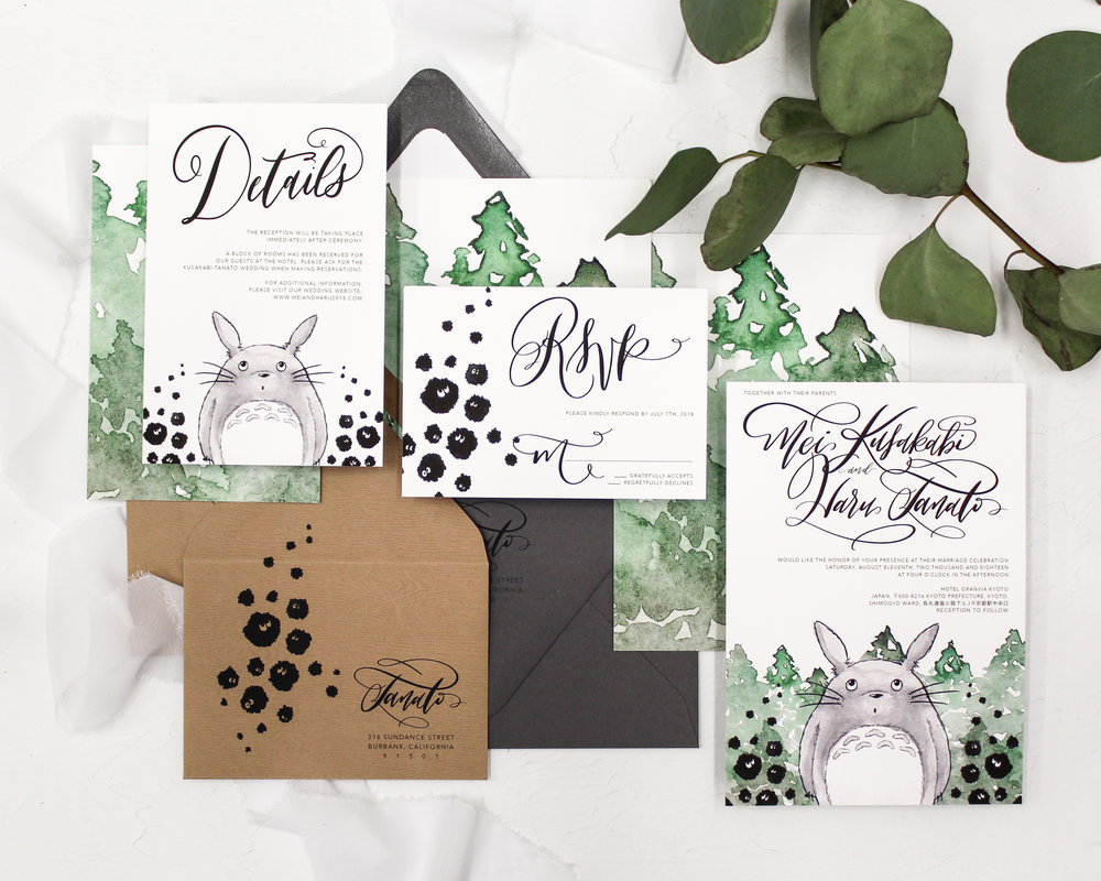 totoro - Featuring everyone's favorite spirit of the forest, this suite combines both modern calligraphy and watercolor designs. Perfect for any Ghibli fan.