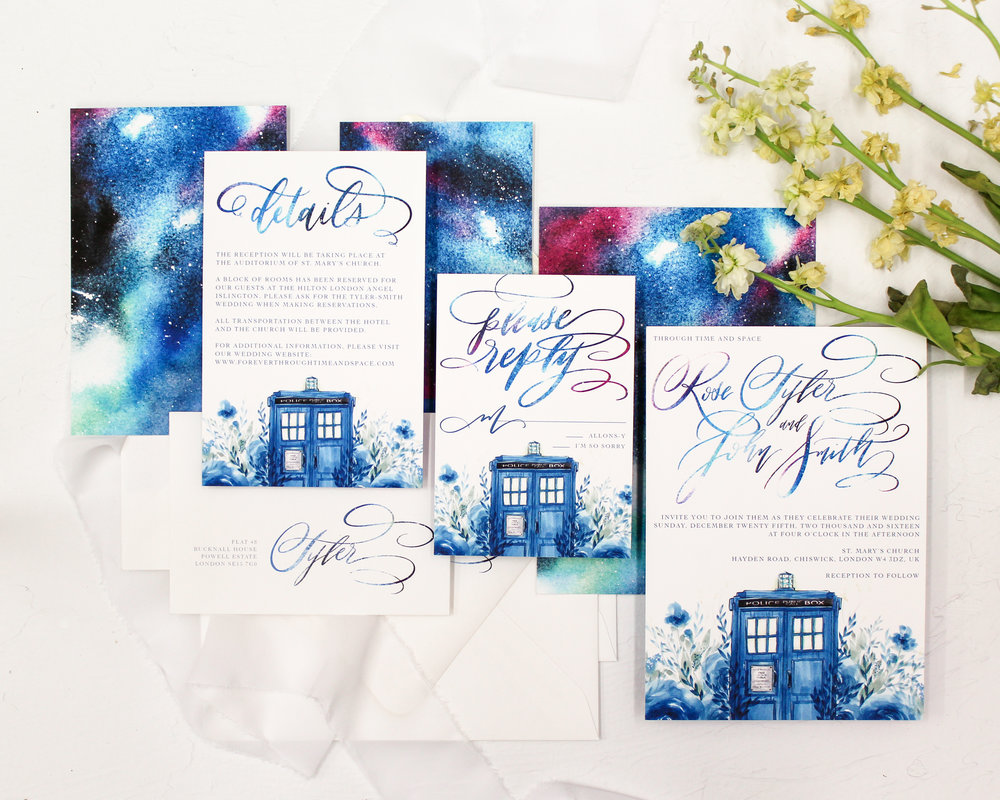 through time and space - Are you a Whovian looking for the perfect stationery for your Doctor Who wedding? This one might just be difficult to top. With modern calligraphy, watercolor florals featuring the TARDIS, and a galaxy backer- it's perfect for the Whovian couple who loves the details.