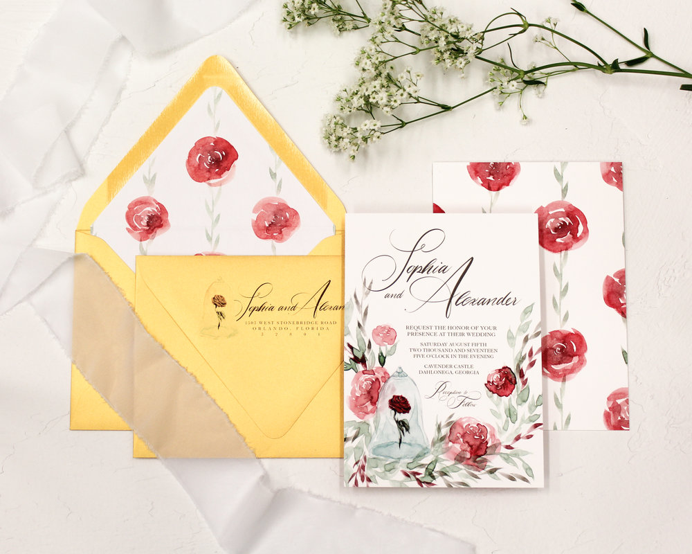 2 piece set - Included in this set:- Invitation- A7 Envelope with return address printing and matching liner.from $103.00