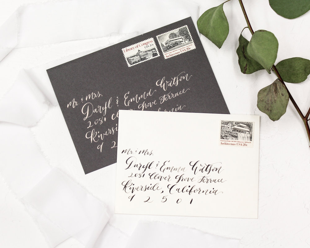 calligraphy guest addresses - Included in this add-on:- Handwritten Calligraphy Guest Addresses on the back of your envelopes$70.00