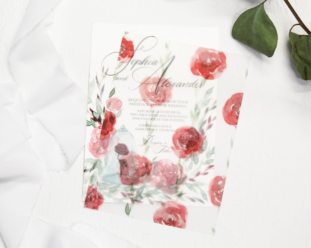 vellum overlay assembly - Included in this add-on:- 5x7 inch Vellum Overlays assembled with your suite. The Vellum is hand torn for a semi-rough edge that overlays beautifully. If chosen, the Vellum Overlays are printed with coordinating artwork from your semi-custom suite.from $20.00