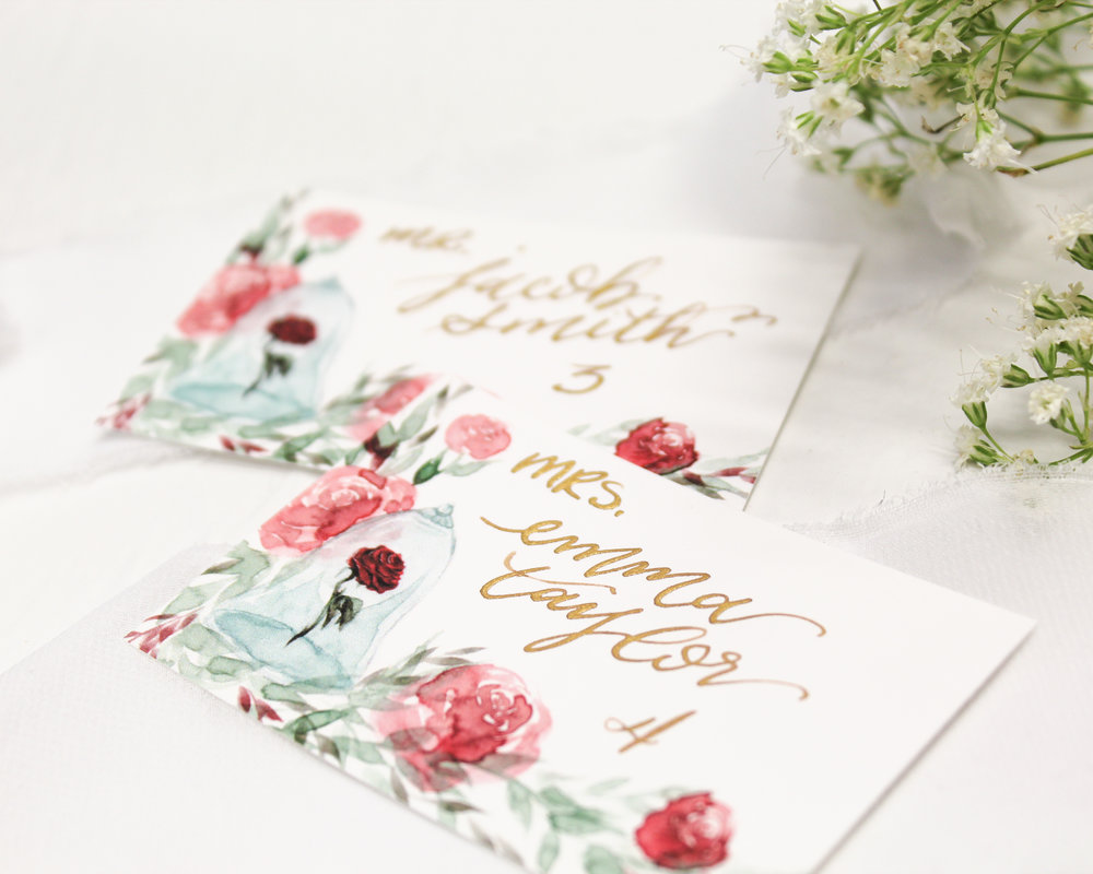 place or escort cards - Included in this add-on:- Flat digitally printed Place Cards or Escort Cards with handwritten calligraphy. Cards are printed with coordinating design from your suite and measure 4x2 inches.$40.00