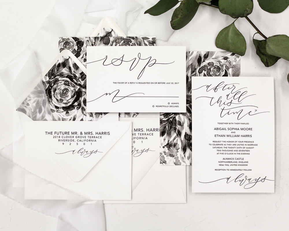 4 piece set - Included in this set:- Invitation- A7 Envelope with return address printing and matching liner.- Reply Card- A6 Envelope with return address printing and matching liner.from $180.00