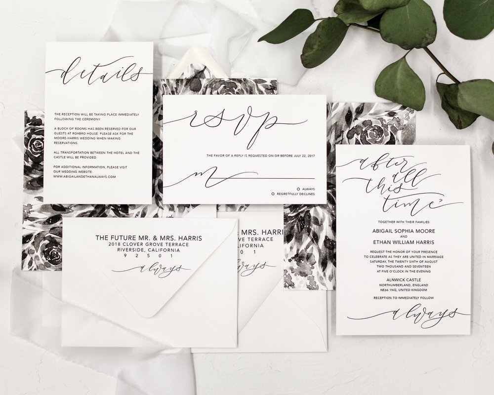5 piece set - Included in this set:- Invitation- A7 Envelope with return address printing and matching liner.- Reply Card- A6 Envelope with return address printing and matching liner.- Details Cardfrom $215.00