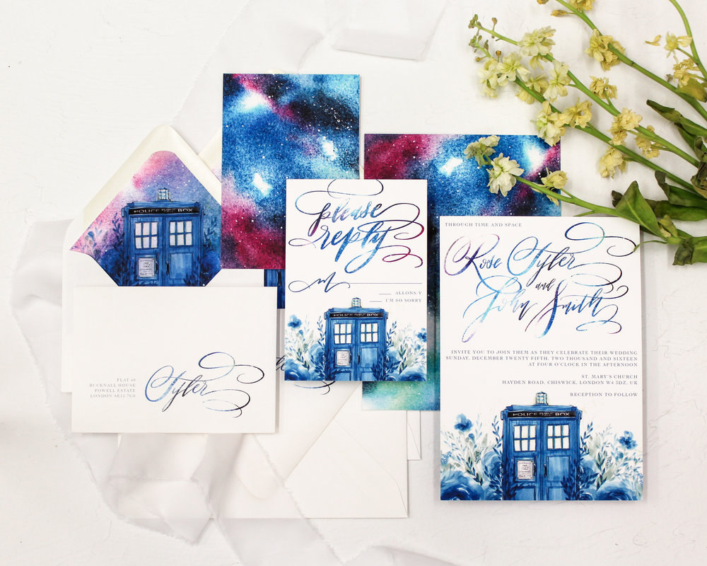 4 piece set - Included in this set:- Invitation- A7 Envelope with return address printing and matching liner.- Reply Card- 4bar Envelope with return address printing and matching liner.from $180.00