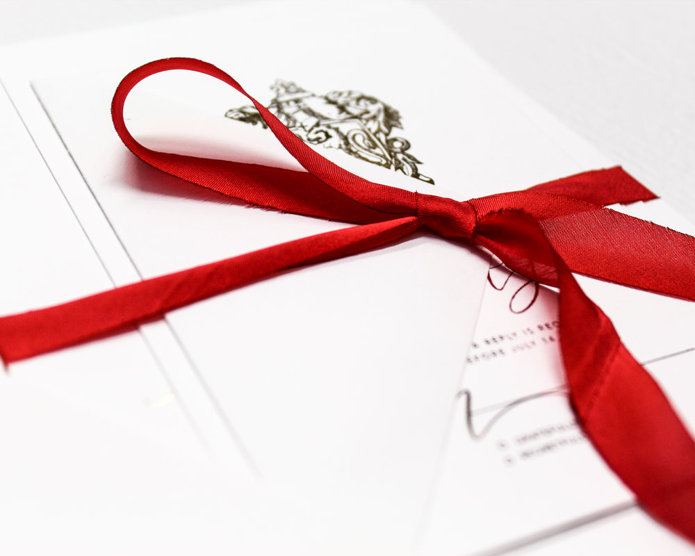 Red Silk Ribbon Assembly - Included in this add-on:- Red Silk Ribbons wrapped and tied around your suite. The ribbon is 100% silk and are bias cut which gives them a dramatic drape.from $25.60
