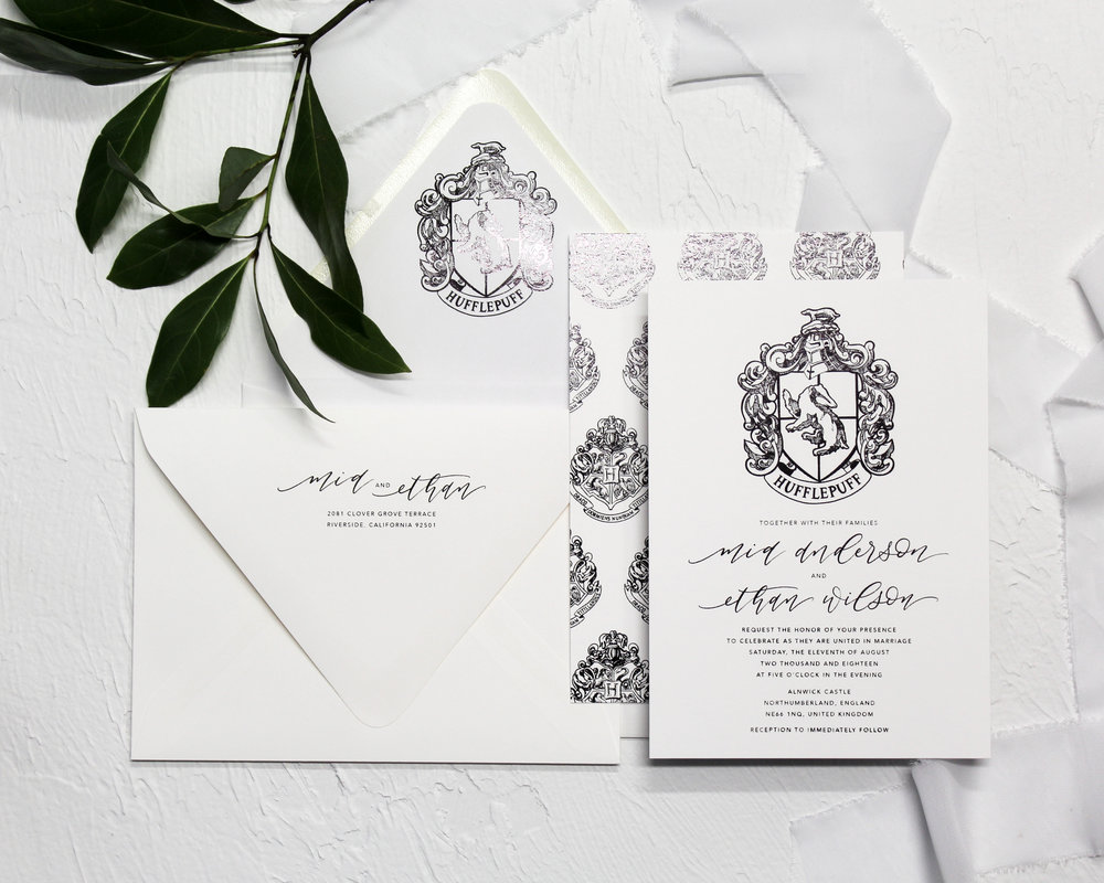 2 piece set - Included in this set:- Flat Foiled Invitation- A7 Envelope with flat foiled return address and matching flat foiled liner.from $163.00