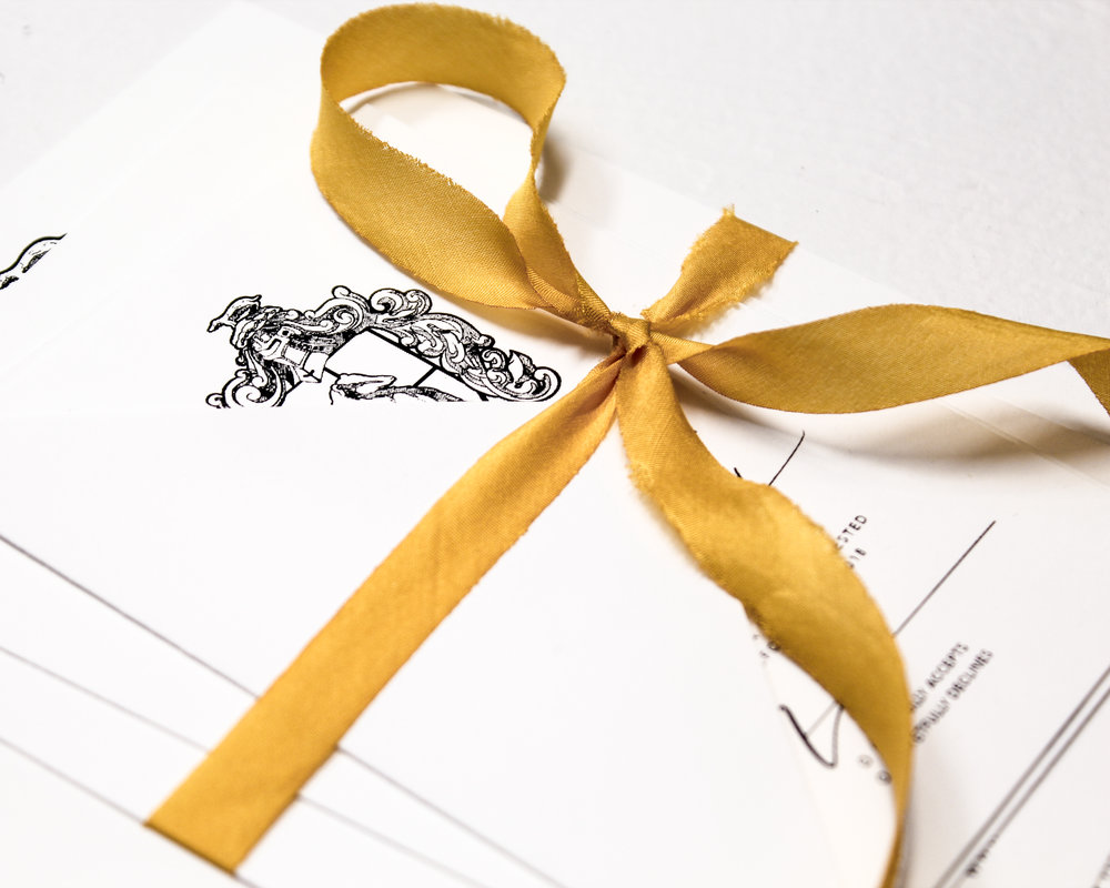 Yellow Silk Ribbon Assembly - Included in this add-on:- Yellow Silk Ribbons wrapped and tied around your suite. The ribbon is 100% silk and are bias cut which gives them a dramatic drape.from $25.60