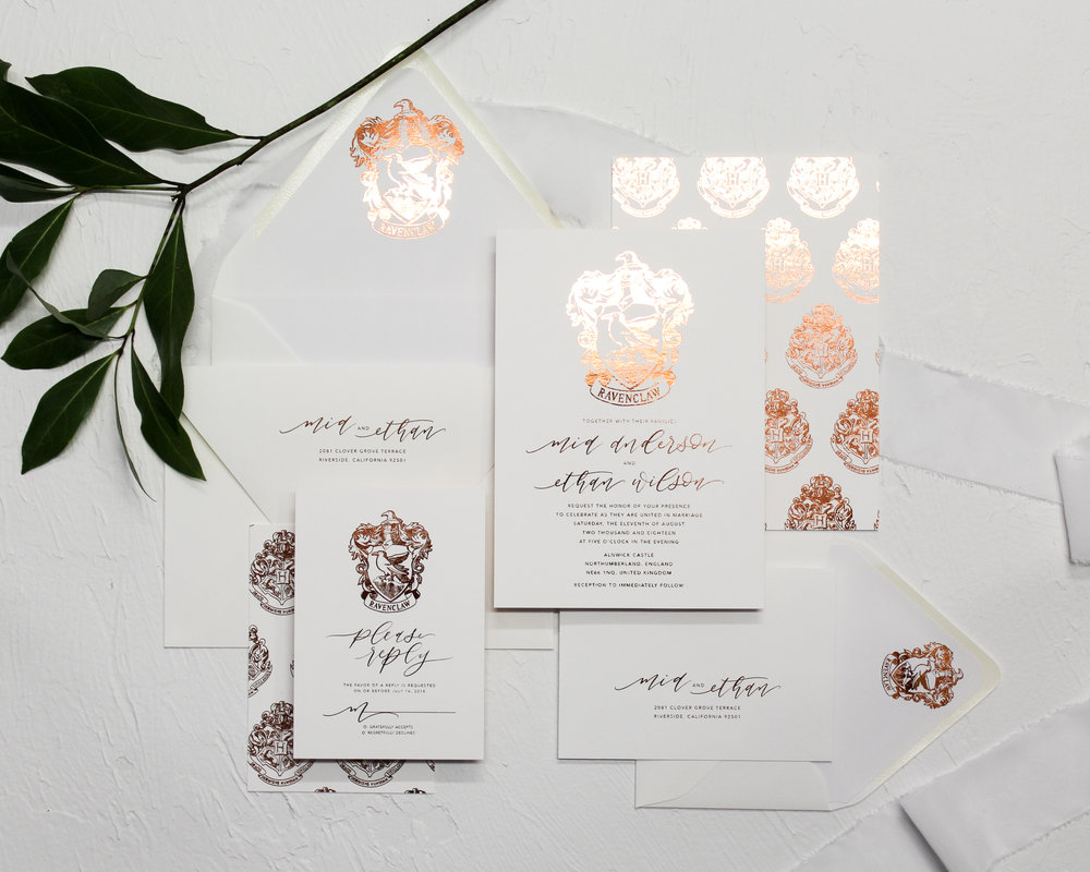 4 piece set - Included in this set:- Flat Foiled Invitation- A7 Envelope with flat foiled return address and matching flat foiled liner.- Flat Foiled Reply Card- 4bar Envelope with flat foiled return address and matching flat foiled liner.from $290.00