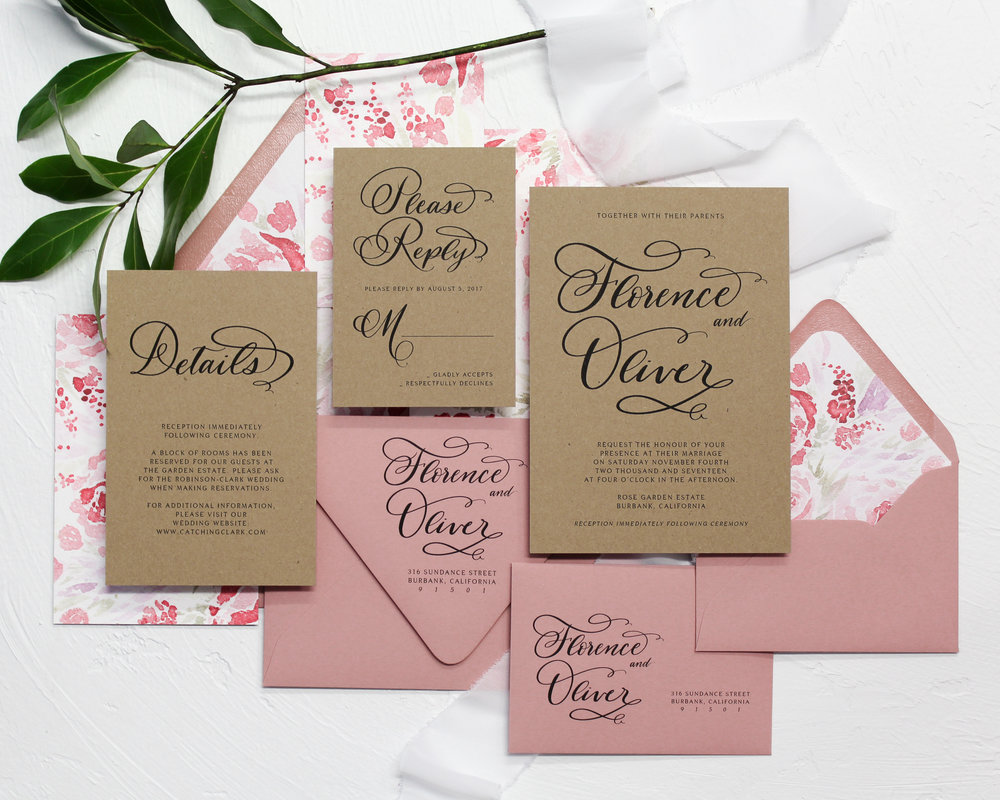 Kraft & Florals - Each piece is printed on kraft paper, paired with modern watercolor loose florals. This suite is perfect for the boho couple.