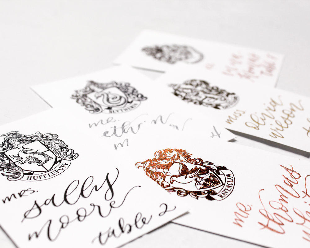 flat foiled place or escort cards - Included in this add-on:- Flat foiled Place Cards or Escort Cards with handwritten calligraphy. Cards are printed & foiled with coordinating design from your suite and measure 4x2 inches.$50.00