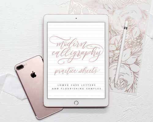 Modern Calligraphy Practice Sheets With Flourishing Samples