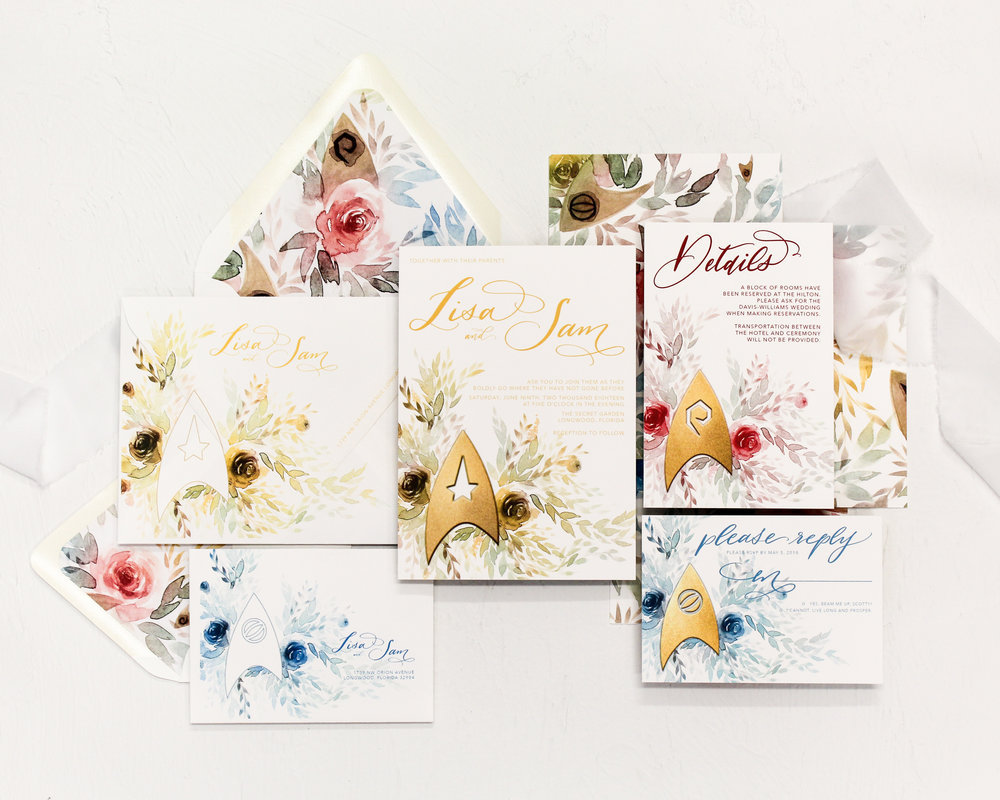 star trek - Featuring the insignias and colors of your favorite starship crew, this suite incorporates watercolor florals into the artwork to make this fandom elegant and ready for your geek wedding.