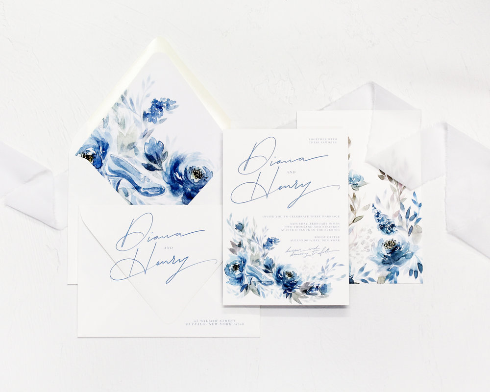 2 piece set - Included in this set:- Invitation-A7 Envelope with return address printing and matching liner.from $103.00